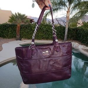 Coach bag patent leather purple plum